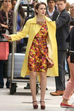 Leighton Meester on the set of Gossip Girl wearing Peter Som dress