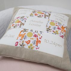 Personalised Woodland Memory Cushion** by Tuppenny House Designs, the perfect gift for Explore more unique gifts in our curated marketplace. Baby Quilts To Make, Handmade Cushions, Vintage Crafts, Quilt Making, Woodland, New Baby Products, Bed Pillows, Sewing Projects, House Design