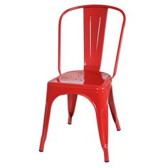 Tolix Style Red Bistro Dining Chair (Set of 2) #Unbranded