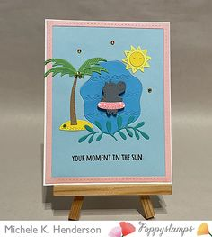 Hippo Crafts, Memory Box Cards, Animal Cards, Whittling, In The Tree, Metal Crafts, Clear Stamps, Blue Backgrounds, Pretty In Pink