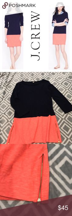 J. Crew Maritime Colorblock Dress Navy and neon-coral colorblock dress with gold zipper slits on sides. Easy fit yet you could wear cinched with a belt and heels for a more elegant fit! Substantial feel to fabric that holds its shape beautifully! Gently used, excellent condition with no stains, holes or rips! Zippers work fine! Please let me know if you have any questions! All of my items come from a clean, smoke-free home! Also check out my closet for more items and save when you bundle! Or…