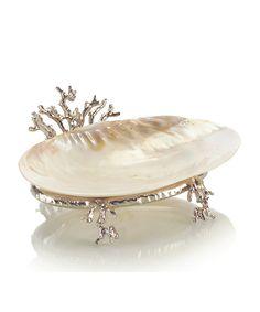 silver coral stand with kabibi shell (John-Richard)