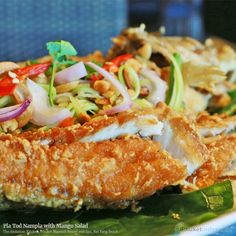 Pla Tod Nampla with Mango Salad at The Andaman Kitchen, Phuket Marriott Resort and Spa, Nai Yang Beach  #photooftheday #Phuketindex #Phuket #Thailand#relax #chill#delicious #food #breakfast #lunch #dinner#aroy #seafood #TheAndamanKitchen #NaiYangBeach #PhuketMarriott_Nai Yang #PlaTodNampla ##PlaTod #Nampla #FishSauce #MangoSalad #Mango #Salad #DeepFried #ThaiFood