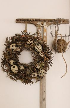 Quail Egg Wreath -- Not like I don't have enough quail eggs lying around!