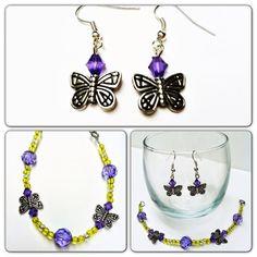 Butterfly Earring & Bracelet Set Purple Green by DirtRoadCrafter, $15.00