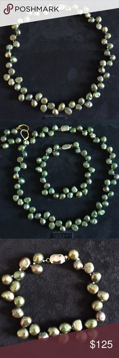"NEW Authentic Natural Green Baroque Pearl 8x9mm Stunning!!! These pearls are green but they give different color shades. The way they are arranged , like in sets of three going in different directions is very unique. The bracelet is 8"" and the necklace is 17.5"". This a must to own set! Jewelry"