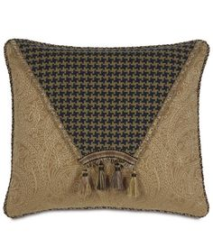 * Light brown woven paisley fabric base* Decorative houndstooth envelope flap design* Tassel trim applique with gimp header* Solid reverse* Cord trim edge* Zipper closure* Dry clean only* Hand crafted in the USA* Insert sold separately Diy Pillow Covers, Decorative Pillow Covers, Floor Pillows, Bed Pillows, Bed Cover Design, Diy Embroidery Patterns, Plastic Canvas Coasters, Paisley Fabric, Paisley Pattern