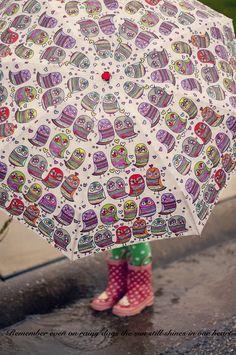 Rain boots & an unbrella.