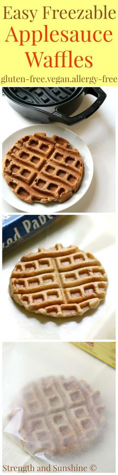 Easy Freezable Applesauce Waffles (Dippable!)   Strength and Sunshine @RebeccaGF666 A little breakfast meal prep and you'll always have an easy morning! These Freezable Applesauce Waffles are gluten-free, vegan, allergy-free, and dippable! A customizable recipe perfect for kids, teens, even adults!
