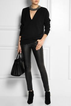 The luxury women's SAINT LAURENT collection at NET-A-PORTER, shop our wide range of luxury handbags, ready to wear, shoes and more. High Fashion Looks, Look Fashion, Autumn Fashion, Cashmere Cardigan, Cashmere Sweaters, Saint Laurent Boots, Classic Looks, Leather Pants, Casual