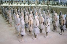 Mausoleum of the First Qin Emperor, China - There are approximately 9,000 statutes of soldiers who some say were erected to guard the Emperor in the afterlife.