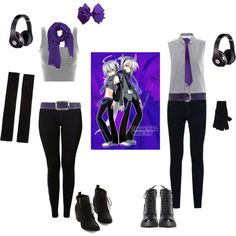 Honne Dell and Haku Yowane Casual Cosplay, Vocaloid by psychometorzi on Polyvore featuring MM6 Maison Margiela, NIKE, J Brand, Rick Owens, Love Quotes Scarves, Brixton, Entrà, Hogan, Beats by Dr. Dre and women's clothing