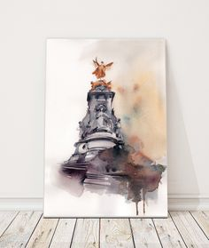 Watercolor painting of Victoria Memorial, London travel painting, Original watercolor painting, watercolour art by CanotStop on Etsy