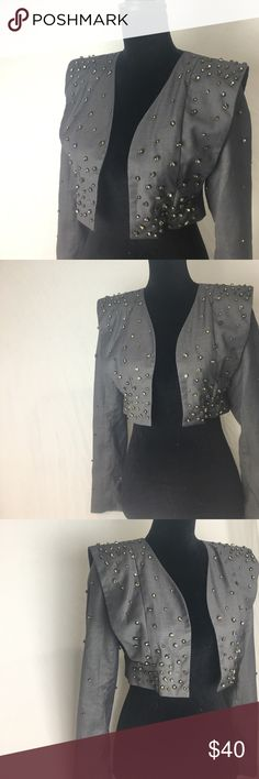 gunmetal gem band camp blazer Channel your inner 80s band camp gone glam in this unique gunmetal, silver and grey Tov Holy G! Grey satin is encrusted with gems. Eye-catching, funky vintage style with modern tapering and flare. Padded shoulders. Worn once - one stone missing (pictured, not noticeable) otherwise in perfect condition. ✨ Jackets & Coats Blazers