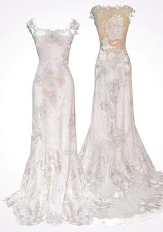 Back Detail: Modern Romantic Embroidered Style Wedding Dress By Claire Pettibone, Luxury Sweep Length Wedding Dress with Embroidered Dress