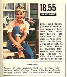 Tammy   - das Mädchen vom Hausboot startete am 01.09.1967 im ZDF. Von dieser amerikanischen Serie wurden bis Febr. 1968 insgesamt 26 Folgen ausgestrahlt. NachPistolen und Petticoats, das nur wenige Tage vorher begann, war Tammy die zweite vom ZDF in Farbe ausgestrahlte Fernsehserie. Zur damaligen Zeit war Tammy eine der beliebtesten Fernsehserien in Deutschland. Über 30 Millionen Zuschauer verfolgten jeden Freitag am späten Nachmittag ihre Erlebnisse.