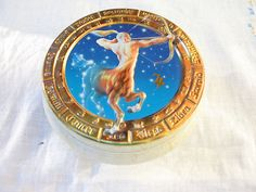 $34.99  Vintage Zodiac Sagittarius Embossed Tin Gold Marble Churchill's Confectionery