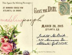 Bridal Floral Save the Date Postcard 5.5 x by madeforLOVEstudio, $16.00