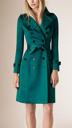 Bright teal Cotton Sateen Trench Coat - Image 1