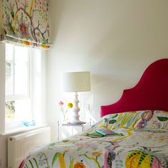 Creating a home with modern Scandi style pays off. This colourful, patterned bedroom looks fresh and cheerful, making it a joy to wake up in whatever the season. Home Bedroom, Girls Bedroom, Bedroom Decor, Modern Bedroom, Design Bedroom, Cool Curtains, Scandi Style, Bedroom Colors, Girl Room