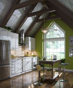This modern farmhouse style kitchen is completed by a custom geometric window to align with the ceiling design. The colonial grid pattern puts a classic twist on this modern design. Ceiling Tiles, Ceiling Decor, Ceiling Beams, Ceiling Design, Tin Ceilings, Ceiling Panels, Vaulted Ceilings, Ceiling Fan, Kitchen Window Coverings