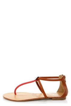 Bamboo Grayson 01 Chestnut Multi T-Strap Thong Sandals at LuLus.com! #lulusrocktheroad