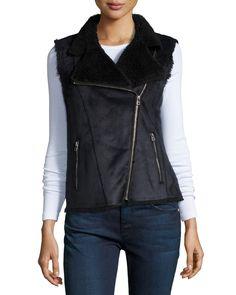 Anila Asymmetric-Zip Faux-Sheep Vest, Black - Velvet