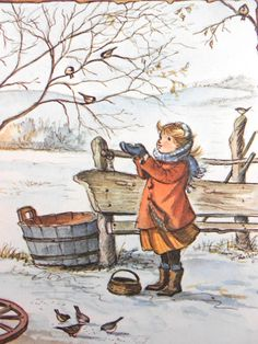 Luv! Beautiful Vintage Tasha Tudor Winter Art ~ Little Lass in Coral Coat & Orange Dress Tending the Birds