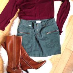 "Calvin Klein Army Green Zippered Skirt, Sz 7 Super cute Calvin Klein zipper pocket skirt. Length is 14.5"". Calvin Klein Skirts Mini"