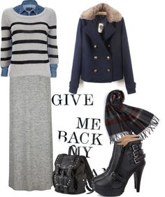"""""""HOW TO WEAR: Grey Maxi Skirt - 4"""" by danasfashionblog on Polyvore"""