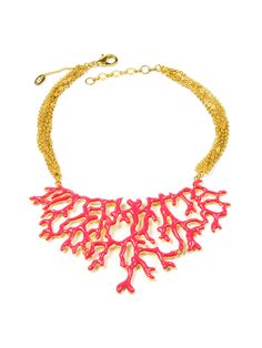 Fuschia Coral Branch Bib Necklace