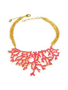 Fuschia Coral Branch Bib Necklace