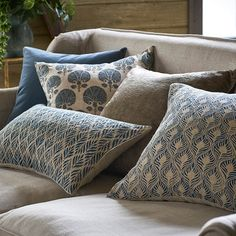 A pure linen cushion cover, adorned with a unique grey and blue shell design. Each shell is decorated with delicate rice stitch embroidery. Country Cushions, Blue Cushions, Printed Cushions, Scatter Cushions, Cushions On Sofa, Country Bedding, Printed Sofa, Living Room Cushions, My Living Room