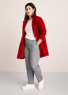 Buttoned wool coat - Plus sizes Fall Outfits For Work, Winter Outfits Women, Comfortable Outfits, Casual Outfits, Classic Fashion Looks, Affordable Work Clothes, Chubby Fashion, Look Plus Size, Plus Size Fashion For Women