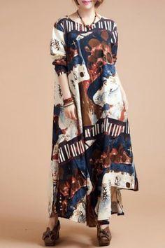 Stylish Scoop Neck Ethnic Print Loose-Fitting Long Sleeve Dress For WomenPrint Dresses   RoseGal.com