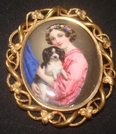 SUPER Antique Continental portrait miniature hand painted enamel girl and her dog