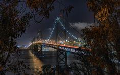 Download wallpapers Bay Bridge, San Francisco, Suspension Bridge, Night, City Lights, San Francisco Bay, California, USA