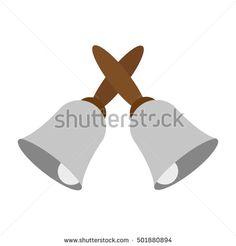 vector illustration of crossed hand bells icon