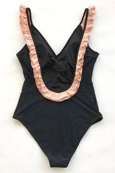 Black with Pink Ruffle One-Piece Swimsuit Buy Now Nike One Piece Swimsuit, Cute One Piece Swimsuits, Backless One Piece Swimsuit, Red Swimsuit, Long Torso Swimsuits, Nylons, Bikini Floral, Stuck, Beach Wear