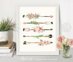 ♥Welcome to ArtCult - Printable digital goods on Etsy!♥ Discount Coupon Codes can be found in ArtCults Shop Announcement. This is a digital product. No physical item will be shipped. You can print these images as many times as you need. Romantic Flower ARROWS - Printable artwork