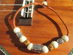 Surfer Bracelet Featuring a Large Silver Bead, Howlite Stone, Wood & Silver Beads on Leather