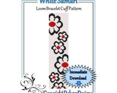 Bead Pattern LoomBracelet CuffWhite Daisies by LoomTomb on Etsy