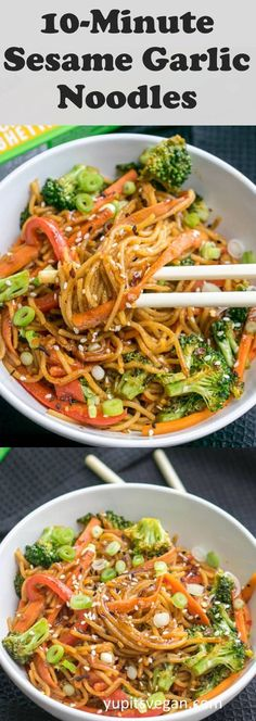 10 minutes of sesame-garlic-protein noodles! Vegan, gluten-free, ready in . - Diet tips - 10 minutes of sesame-garlic-protein noodles! Vegan, gluten-free, finished in … free - Asian Noodle Recipes, Veggie Recipes, Whole Food Recipes, Cooking Recipes, Healthy Recipes, Vegan Recipes Asian, Vegan Asian Noodle Recipe, Vegetarian Rice Noodle Recipes, Kids Vegan Recipes