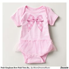 #PinkGinghamBow #PinkTutu #BabyBodysuit by #MoonDreamsMusic