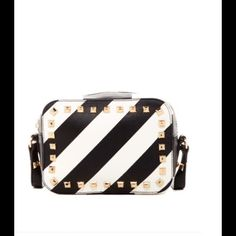 """Steve Madden Stripped Studded Crossbody Bag ✨This Bag will be available for purchase on 04/27/16✨ Discontinued, Sold out Item Beyond cute, and very unique! Big enough to fit your """"must haves,"""" small enough to not be a burden! All of the Steve Madden bags I sell are very unique, hard to find, and usually sold out! Get this while you can....... Price Firm, but will take off shipping charges. Steve Madden Bags Crossbody Bags"""