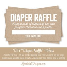 Printable Diaper Raffle Tickets - Rustic Brown Kraft Paper Fun Baby Shower Game Ideas - Bring A Pack of Diapers - INSTANT DOWNLOAD