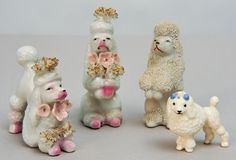 1950s French Poodles 4 Vintage Figurines Made in Japan by RebornToAdorn on Etsy