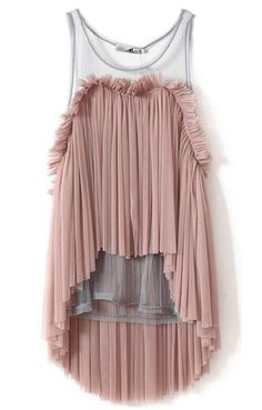 Dark Pink Frill Pleated Sheer Mesh Back High-low Top