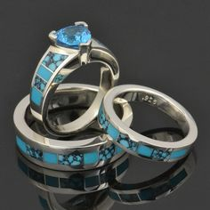 Topaz And Turquoise Engagement Ring With A Matching Wedding Set By Hileman Silverjewelry
