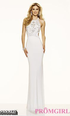 High Neck Open Back Mori Lee Jersey Prom Dress at PromGirl.com